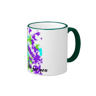 Falling Leaves in Turquoise, Purple and Lime Ringer Mug