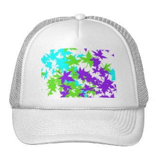Falling Leaves in Turquoise, Purple and Lime Trucker Hat