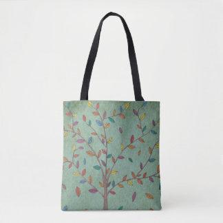 Falling Leaves Oak Tree Hand Drawn Art Tote Bag