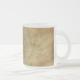 Falling Leaves on Antiqued Background Frosted Glass Coffee Mug