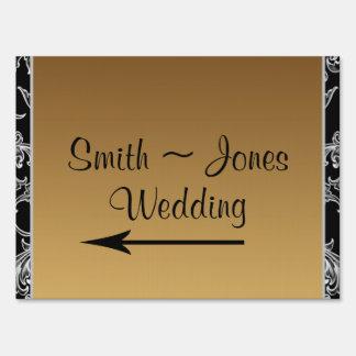 Falling Leaves on Damask Wedding Direction Sign
