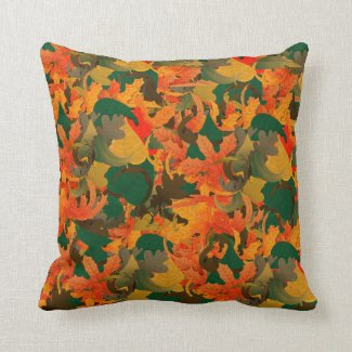 Falling Leaves Pattern for Autumn Throw Pillow