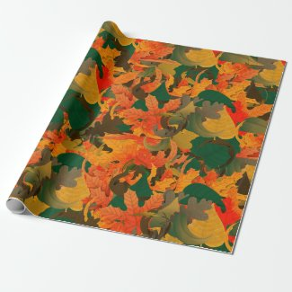 Falling Leaves Pattern for Autumn Wrapping Paper