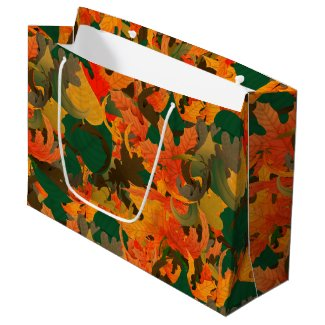 Falling Leaves Pattern for Autumnn Large Gift Bag