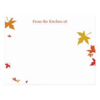 Falling Leaves Recipe Card (Custom Request)