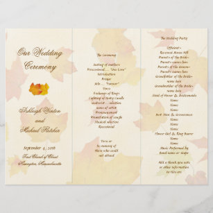 tri fold wedding programs zazzle