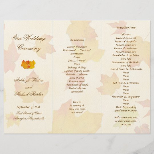 falling leaves tri fold wedding program template zazzle com