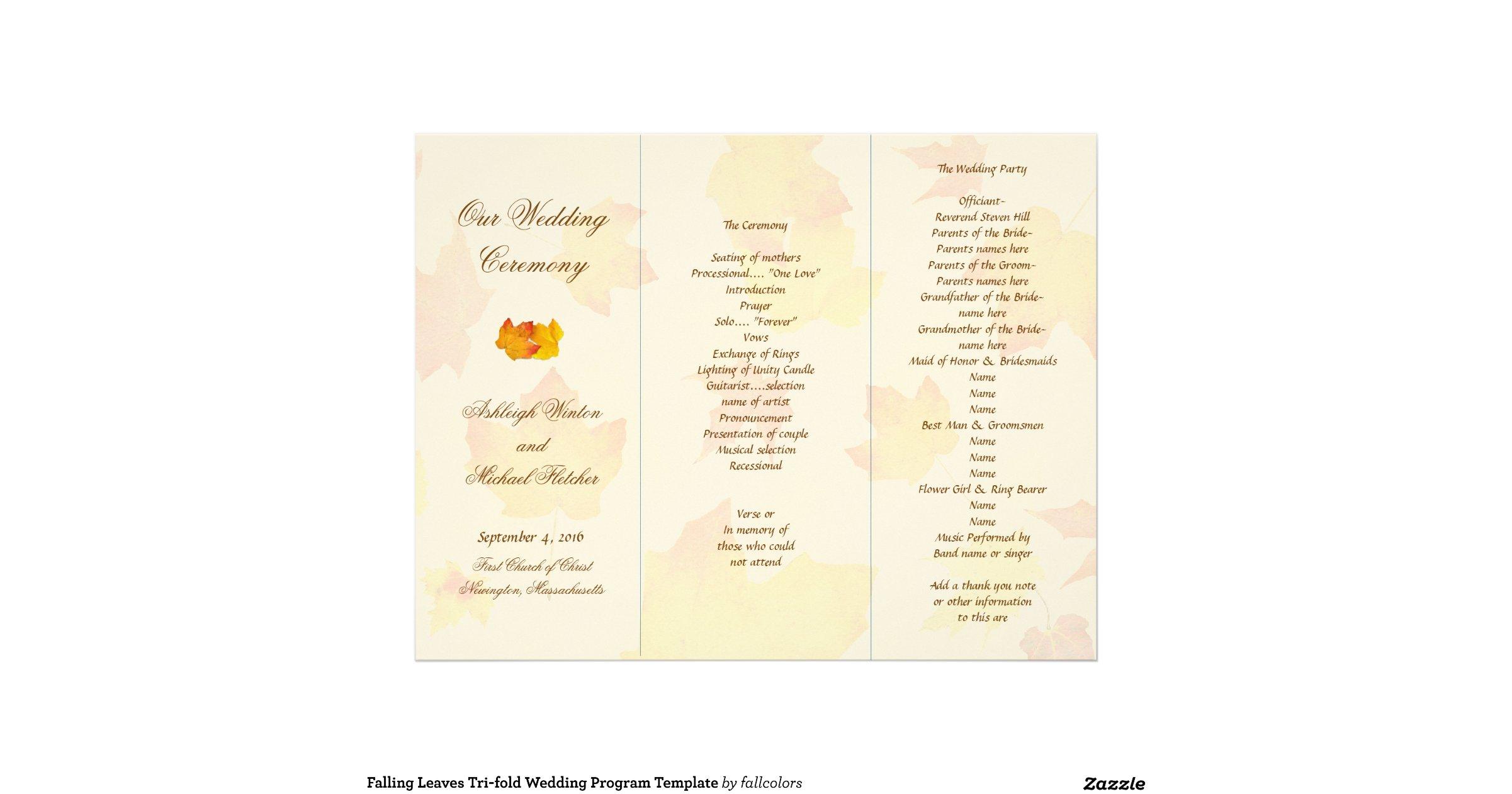 Falling Leaves Tri Fold Wedding Program Template