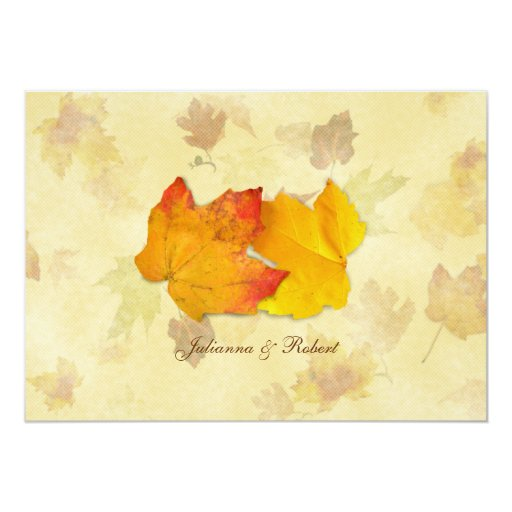 Falling Leaves, Two Maples Wedding Invitations