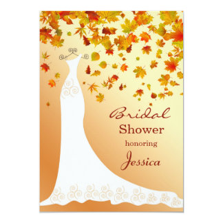 Falling Leaves Wedding Gown Bridal Shower Invite