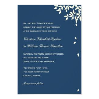 Falling Leaves Wedding Invitation (Navy)