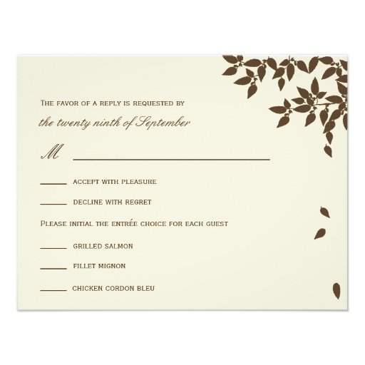 falling leaves wedding rsvp response cards brown invite zazzle