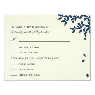 Falling Leaves Wedding RSVP/Response Cards (Navy)