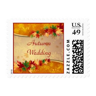 Falling Maple Leaves Autumn Wedding Postage