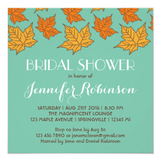 Falling Maple Leaves Bridal Shower Invitation