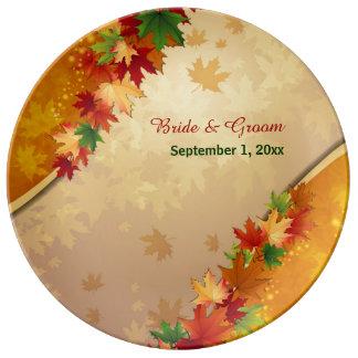 Falling Maple Leaves Porcelain Plate