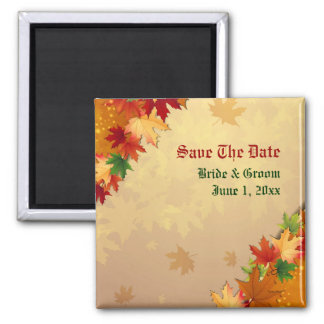 Falling Maple Leaves Save The Date Magnet