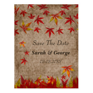 falling maple leaves save the date postcards