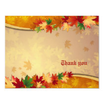 Falling Maple Leaves Thank You Card