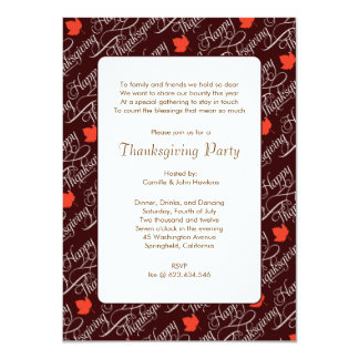 Falling Maple Leaves Thanksgiving Party Invitation