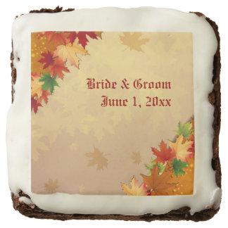 Falling Maple Leaves Wedding Brownies