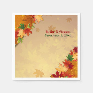 Falling Maple Leaves Wedding Paper Napkins