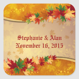 Falling Maple Leaves Wedding Stickers