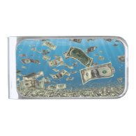 Falling Money Silver Finish Money Clip