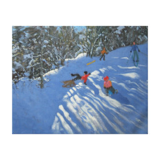 Falling off the Sledge Morzine Canvas Print