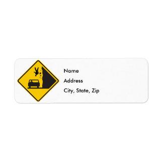 Falling People Zone Highway Sign Return Address Label