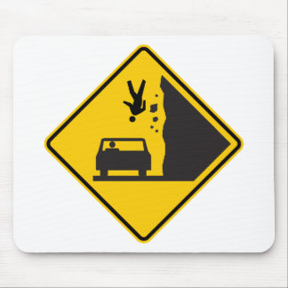 Falling People Zone Highway Sign Mouse Pad