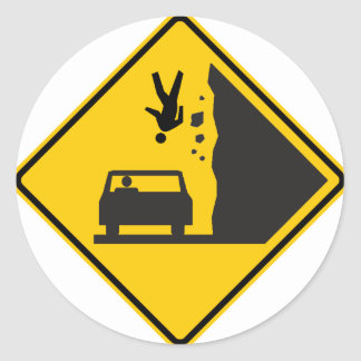 Falling People Zone Highway Sign Classic Round Sticker