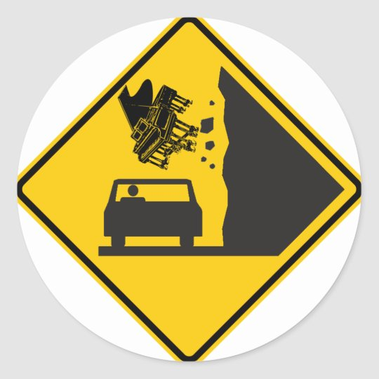 Falling Piano Zone Highway Sign Classic Round Sticker