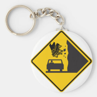 Falling Piano Zone Highway Sign Keychain