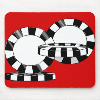 Falling Poker chips in black and white with red Mouse Pad