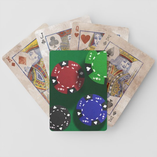 Falling Poker chips on Felt Bicycle Playing Cards