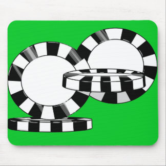 Falling poker chips on green felt mouse pad
