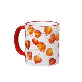 Falling Quaking Aspen Leaves Ringer Coffee Mug