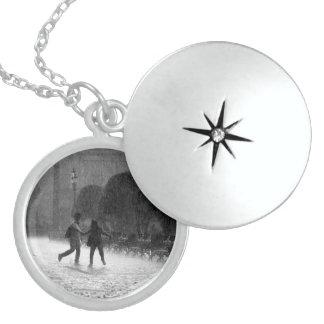 Falling Rain Round Locket Necklace