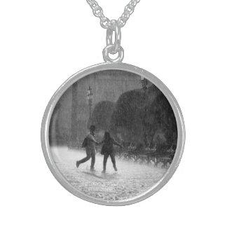 Falling Rain Round Pendant Necklace