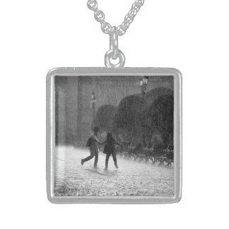 Falling Rain Square Pendant Necklace