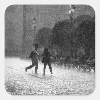 Falling Rain Square Sticker