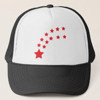 falling red stars trucker hat