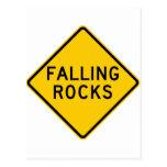 Falling Rocks Zone Highway Sign Postcards