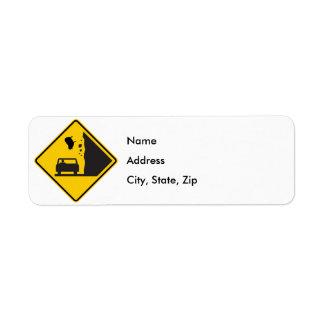 Falling Sheep Zone Highway Sign Return Address Label