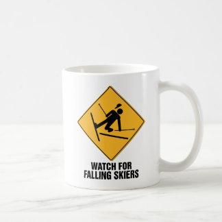 Falling Skiers Classic White Coffee Mug