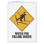 Falling Skiers Greeting Card