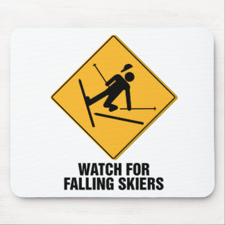 Falling Skiers Mouse Pad