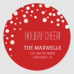 Falling Snow Holiday address labels Round Stickers