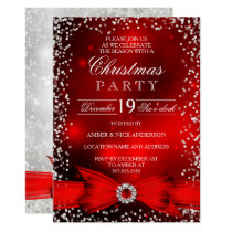 Falling Snow Red White Bow Christmas Party Invitation